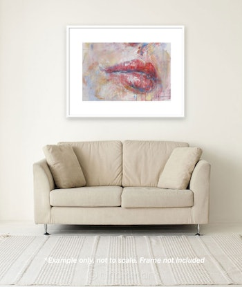 (CreativeWork) Lips in Blush by Nina Smart. Acrylic Paint. Shop online at Bluethumb.