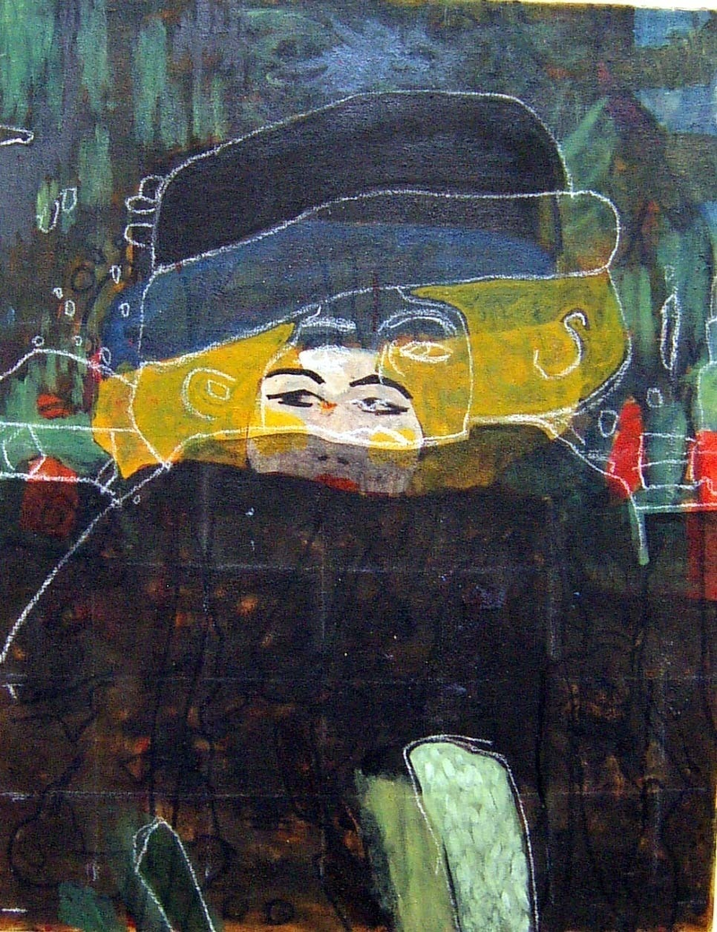 (CreativeWork) Lady with hat and featherboa after Klimt by Ray David. oil-painting. Shop online at Bluethumb.