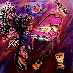 (CreativeWork) Musical Dreams by Shagha BA. arcylic-painting. Shop online at Bluethumb.