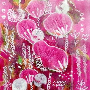 (CreativeWork) Pretty in Pink by Paddy Colahan. arcylic-painting. Shop online at Bluethumb.