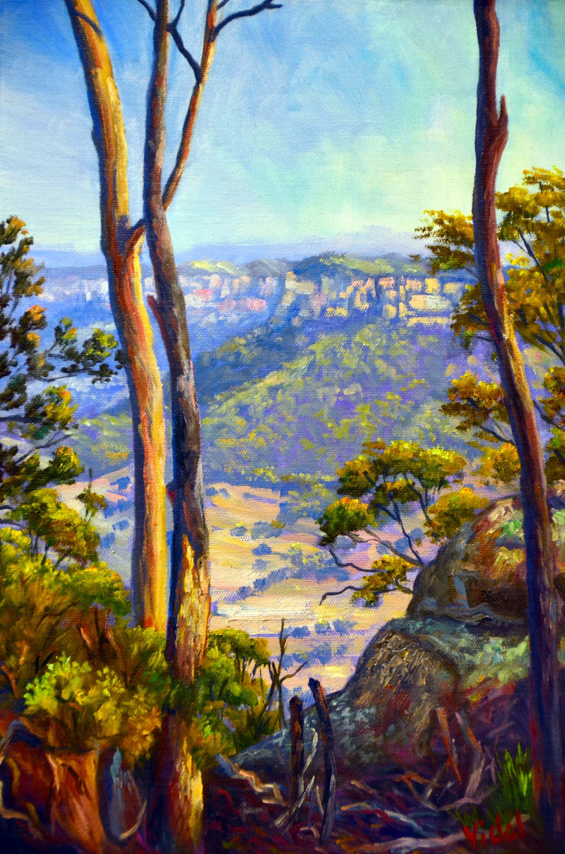 (CreativeWork) Oil on linen - A Glimpse on the Wolgan Valley by Christopher Vidal. oil-painting. Shop online at Bluethumb.