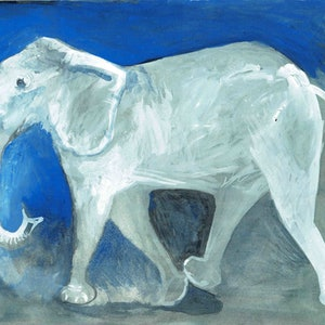 (CreativeWork) White Elephant by John Graham. Watercolour Paint. Shop online at Bluethumb.