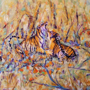 "(CreativeWork) ""The Thrill of the Fight"" by Daniela Selir. oil-painting. Shop online at Bluethumb."