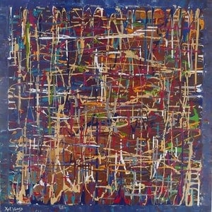 (CreativeWork) A Rhythm of Dialogue by Kelly Hinds. arcylic-painting. Shop online at Bluethumb.