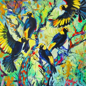 (CreativeWork) Regent Bowerbirds by Katerina Apale. . Shop online at Bluethumb.