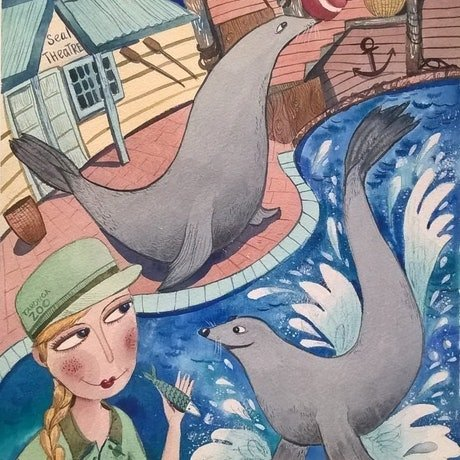 (CreativeWork) Seal Show. Taronga Zoo by Irina Iris. Watercolour Paint. Shop online at Bluethumb.