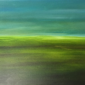 (CreativeWork) Green hills in the dry by Kim Holden. oil-painting. Shop online at Bluethumb.