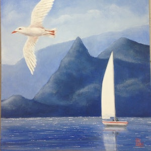 """(CreativeWork) """"SAILING"""" by Toni Lucas. arcylic-painting. Shop online at Bluethumb."""