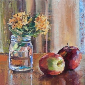 (CreativeWork) Ixora and apples by Elena Churilova. oil-painting. Shop online at Bluethumb.