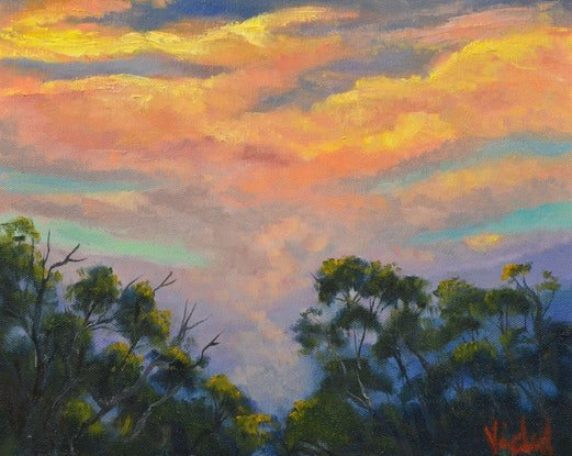 (CreativeWork) Oil on Canvas - Sunset 2 after the storm by Christopher Vidal. #<Filter:0x00005630c67feb88>. Shop online at Bluethumb.