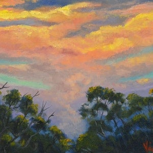 (CreativeWork) Oil on Canvas - Sunset 2 after the storm by Christopher Vidal. oil-painting. Shop online at Bluethumb.