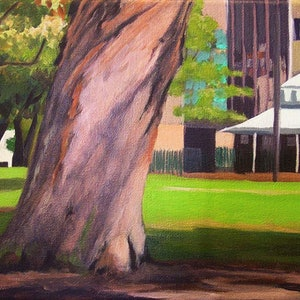 (CreativeWork) Wentworth Park - Gum Aqua Behind 2 by Ishbel Morag Miller. oil-painting. Shop online at Bluethumb.