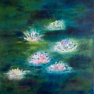 (CreativeWork) LUNAR LILLY by April Lockwood. arcylic-painting. Shop online at Bluethumb.