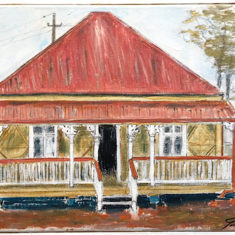 (CreativeWork) Queensland Workers Cottage by Gillian Fahey. Acrylic Paint. Shop online at Bluethumb.