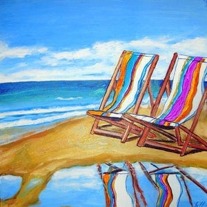 (CreativeWork) Beach Chair Dreaming by Gillian Fahey. arcylic-painting. Shop online at Bluethumb.