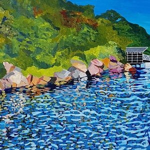 (CreativeWork) Whiting Beach looking toward Taronga Zoo Wharf  by David Foster. arcylic-painting. Shop online at Bluethumb.