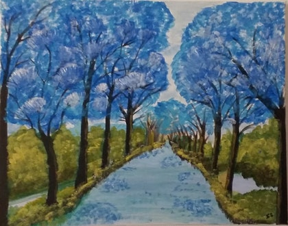(CreativeWork) Blue landscape  by Sri Bhargavi. arcylic-painting. Shop online at Bluethumb.