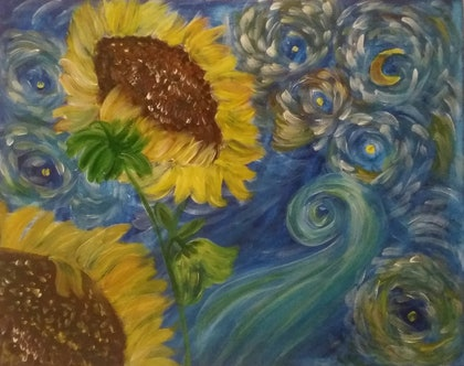 (CreativeWork) Abstract Sunflowers  by Sri Bhargavi. arcylic-painting. Shop online at Bluethumb.