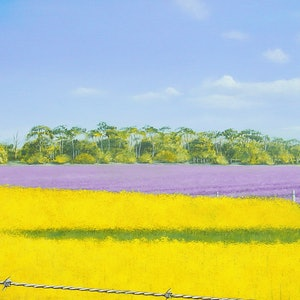 (CreativeWork) Canola & Flax, Country. NSW. by Tony Beckley. arcylic-painting. Shop online at Bluethumb.