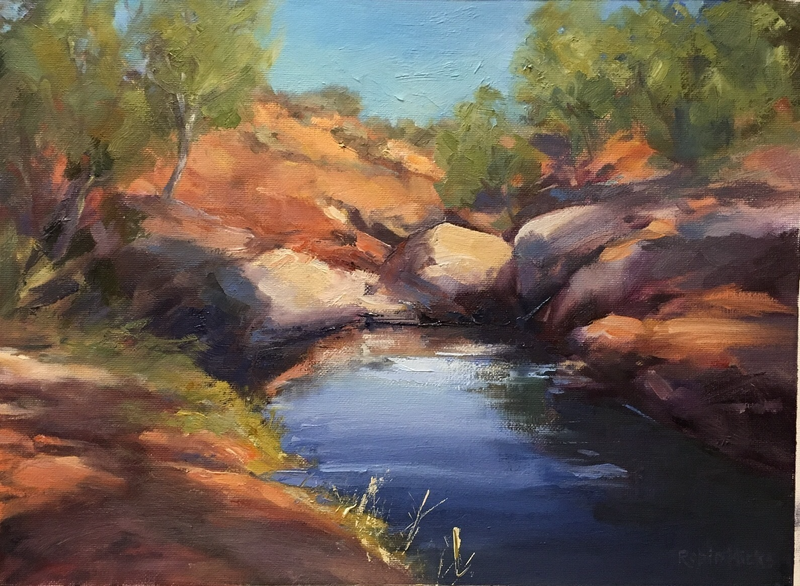 (CreativeWork) Arkaroola Tranquility by Robin Hicks. oil-painting. Shop online at Bluethumb.