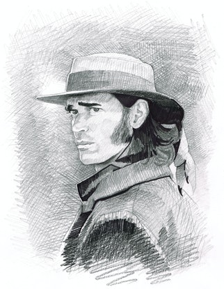 "(CreativeWork) ""BEN HALL"" Jack Martin - (first draft) character illustration for ""The Legend of Ben Hall"" film credits  by Ross Morgan. #<Filter:0x00007fa52cbbf048>. Shop online at Bluethumb."