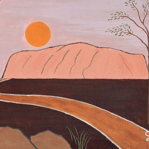 (CreativeWork) Uluru, Australia by Sean Hudson. oil-painting. Shop online at Bluethumb.