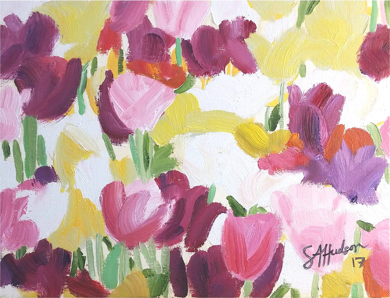 (CreativeWork) Tulips by Sean Hudson. oil-painting. Shop online at Bluethumb.