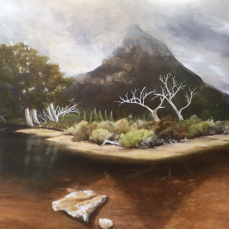 (CreativeWork) Pencil Pine Tarn Central Highlands Tasmania by Rebecca Harrison. Oil Paint. Shop online at Bluethumb.