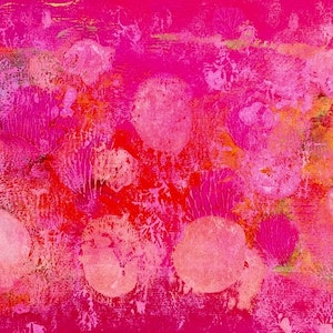 (CreativeWork) Fluro Pink by Paddy Colahan. arcylic-painting. Shop online at Bluethumb.