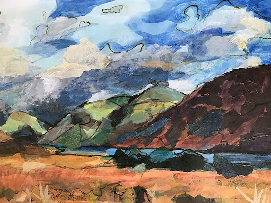 (CreativeWork) Landscape with stormy clouds by Chantal Morgan. Acrylic. Shop online at Bluethumb.