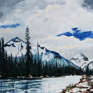(CreativeWork) the canadian mountains by Andrew BARR. oil-painting. Shop online at Bluethumb.