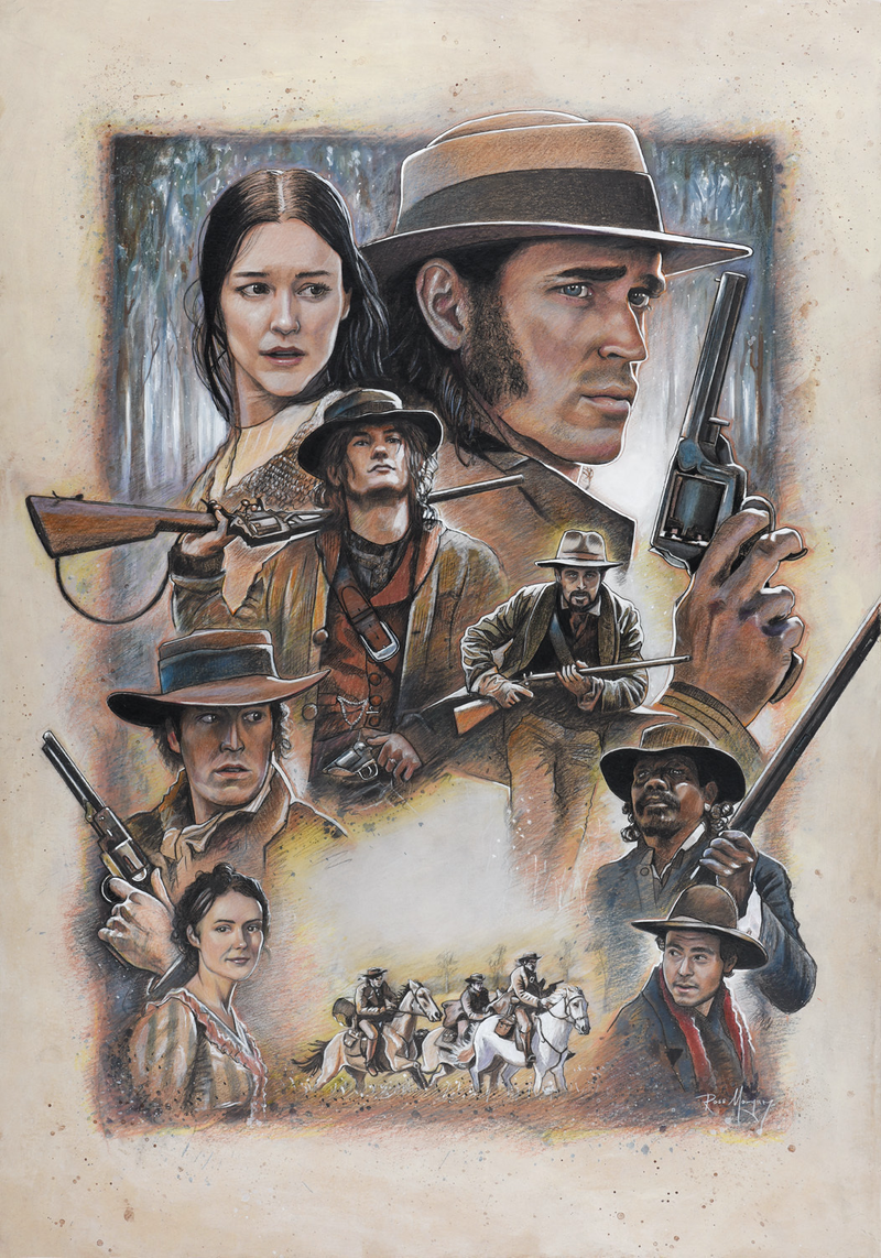 """(CreativeWork) """"The Legend of Ben Hall"""" official hand drawn poster artwork by Ross Morgan. Mixed Media. Shop online at Bluethumb."""