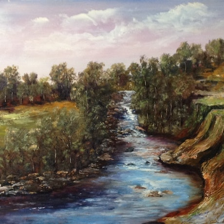 (CreativeWork) River Run by Renate Voigt. Oil Paint. Shop online at Bluethumb.