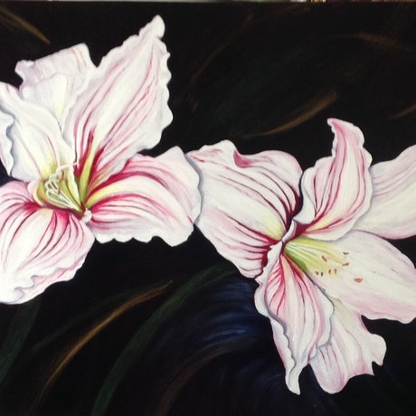 (CreativeWork) Lillies by Renate Voigt. Oil Paint. Shop online at Bluethumb.