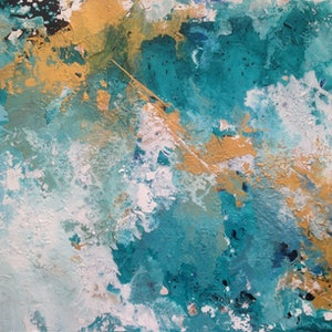 (CreativeWork) Creativity in Turquoise by Amy Basnett. arcylic-painting. Shop online at Bluethumb.