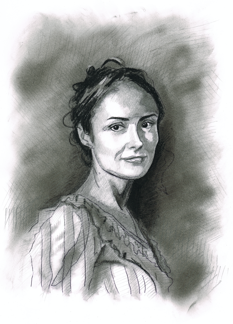 """(CreativeWork) """"CHRISTINA MCKINNON"""" Lauren Grimson - (first draft) character illustration for """"The Legend of Ben Hall"""" film credits  by Ross Morgan. Mixed Media. Shop online at Bluethumb."""