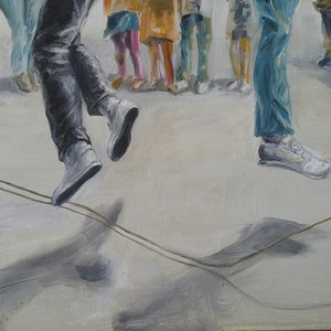 (CreativeWork) Jump by Kerrie Orth. oil-painting. Shop online at Bluethumb.