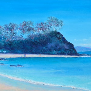 (CreativeWork) Sunshine Bay, south coast, New South Wales by Jan Matson. oil-painting. Shop online at Bluethumb.