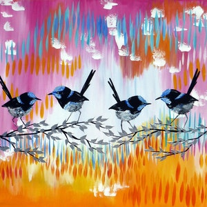 (CreativeWork) Fairy Wren Splendor by Cathy Jacobs. arcylic-painting. Shop online at Bluethumb.