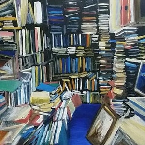 (CreativeWork) Amsterdam Attic by Adam Mennella. oil-painting. Shop online at Bluethumb.