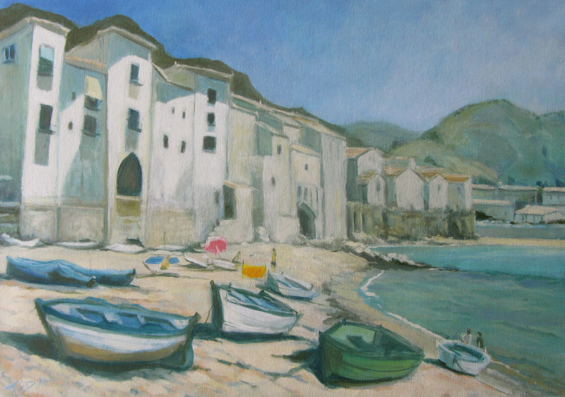 (CreativeWork) By the Village, by the beach by Jason McDermott. oil-painting. Shop online at Bluethumb.