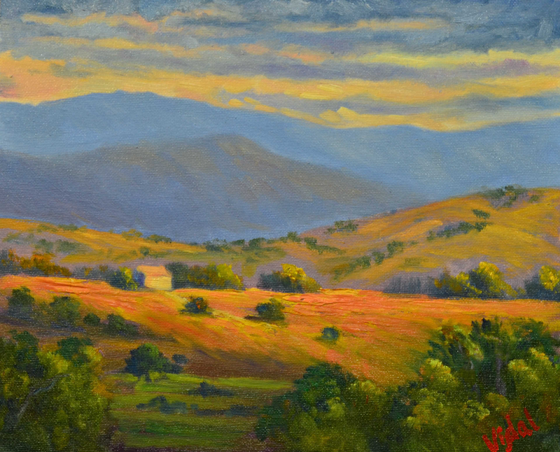 (CreativeWork) Oil on Canvas - Countryside last light by Christopher Vidal. Oil Paint. Shop online at Bluethumb.
