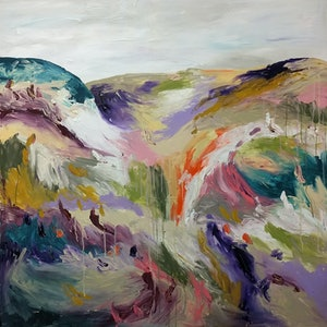 (CreativeWork) Hazy Hills by Marinka Parnham. arcylic-painting. Shop online at Bluethumb.
