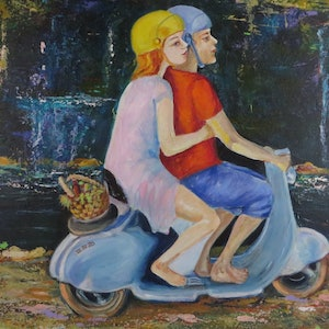 (CreativeWork) Picnic at the Water Hole by Anne-Marie Jones. arcylic-painting. Shop online at Bluethumb.