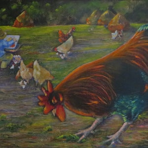(CreativeWork) Monet's Chickens by Anne-Marie Jones. arcylic-painting. Shop online at Bluethumb.