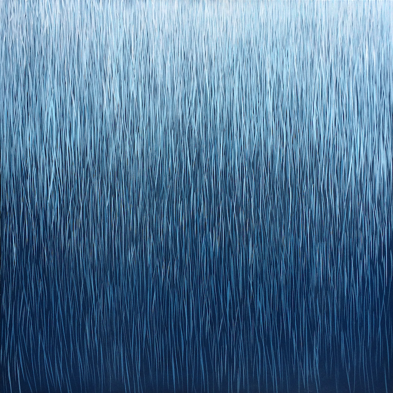 (CreativeWork) 'Indigo Rain' by George Hall. arcylic-painting. Shop online at Bluethumb.