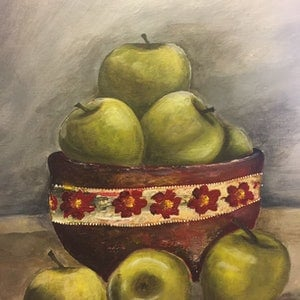 (CreativeWork) Green Apples by Sevda Amini. arcylic-painting. Shop online at Bluethumb.