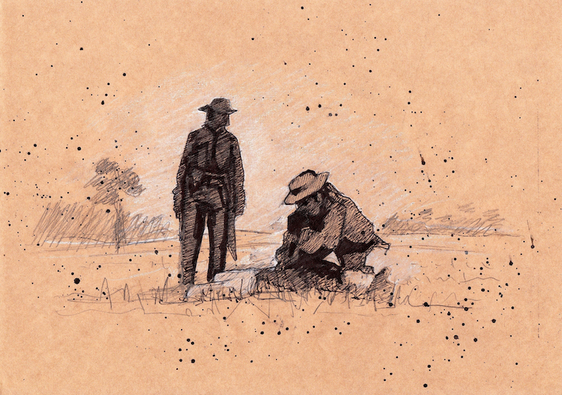 """(CreativeWork) Sketch #3: background storybook sketch for """"The Legend of Ben Hall"""" film by Ross Morgan. Mixed Media. Shop online at Bluethumb."""