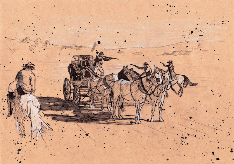 """(CreativeWork) Sketch #9: background storybook sketch for """"The Legend of Ben Hall"""" film by Ross Morgan. #<Filter:0x000055cbbd5fea40>. Shop online at Bluethumb."""
