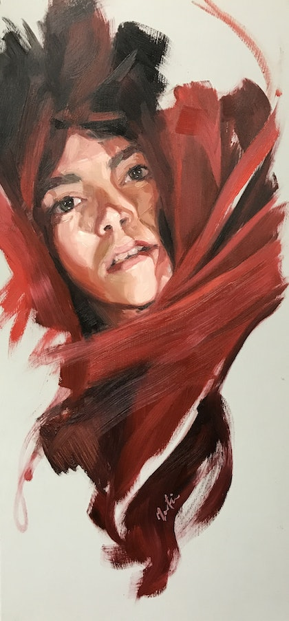 (CreativeWork) Molly in red by Chris Martin. oil-painting. Shop online at Bluethumb.